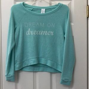 """Teal fuzzy """"dream on dreamer"""" pullover top"""